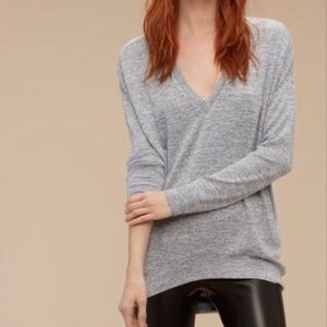 Wilfred Free Devinette V Neck Grey Long Sleeve